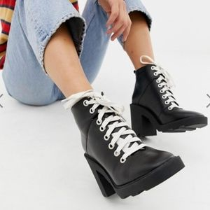 ASOS DESIGN Enola leather chunky hiker boots